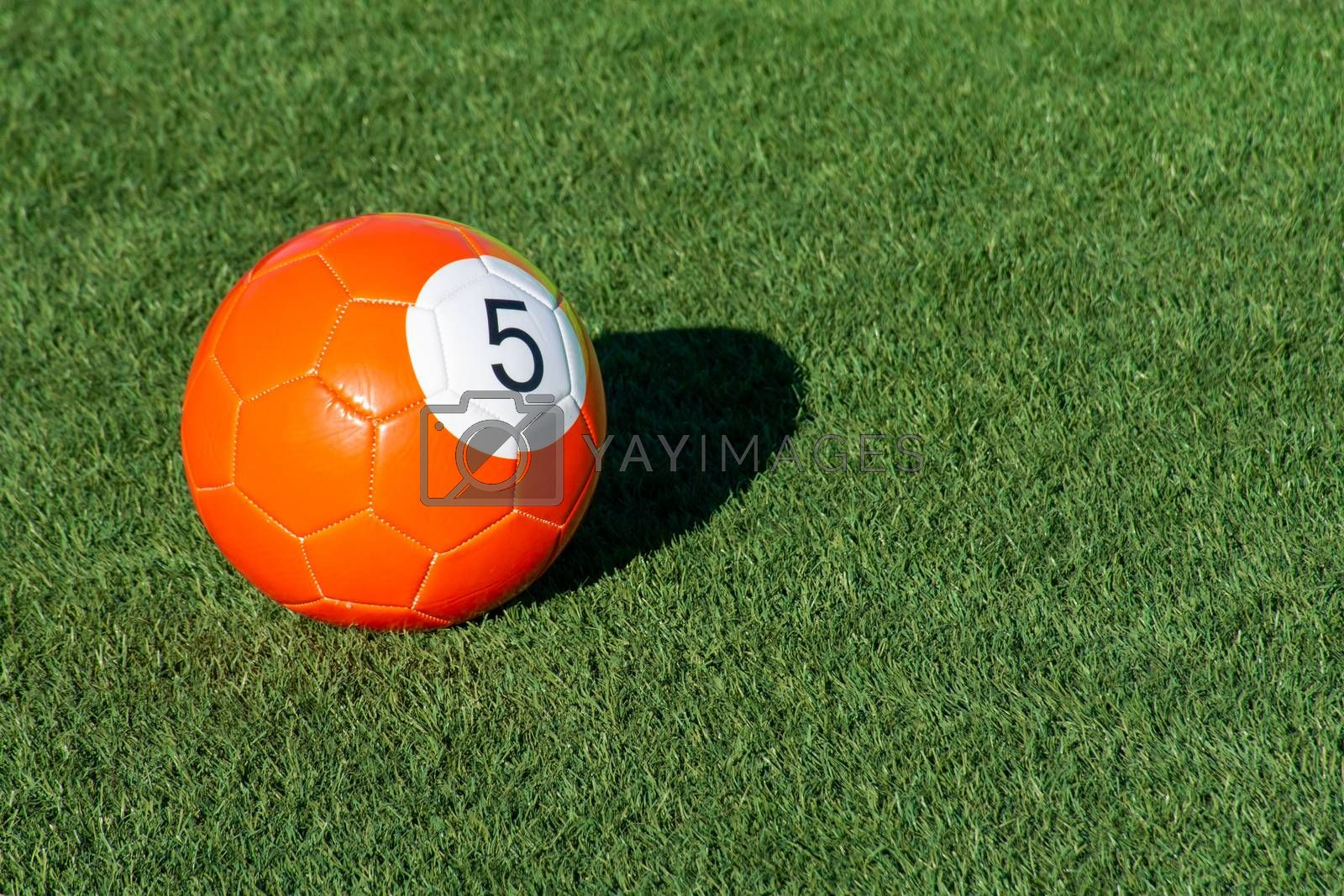Bright orange number 5 soccer billiards or pool ball on green grass with a shadow and copy space. Concept of sports, recreation and childhood fun.