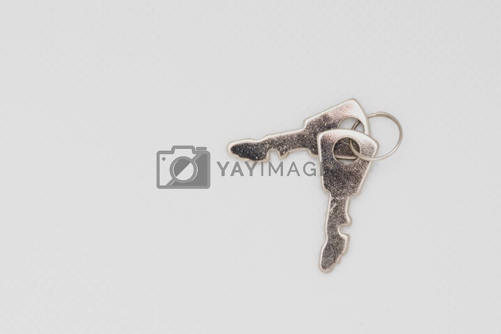 Two keys isolated on a white background spread out. Open space and concept.