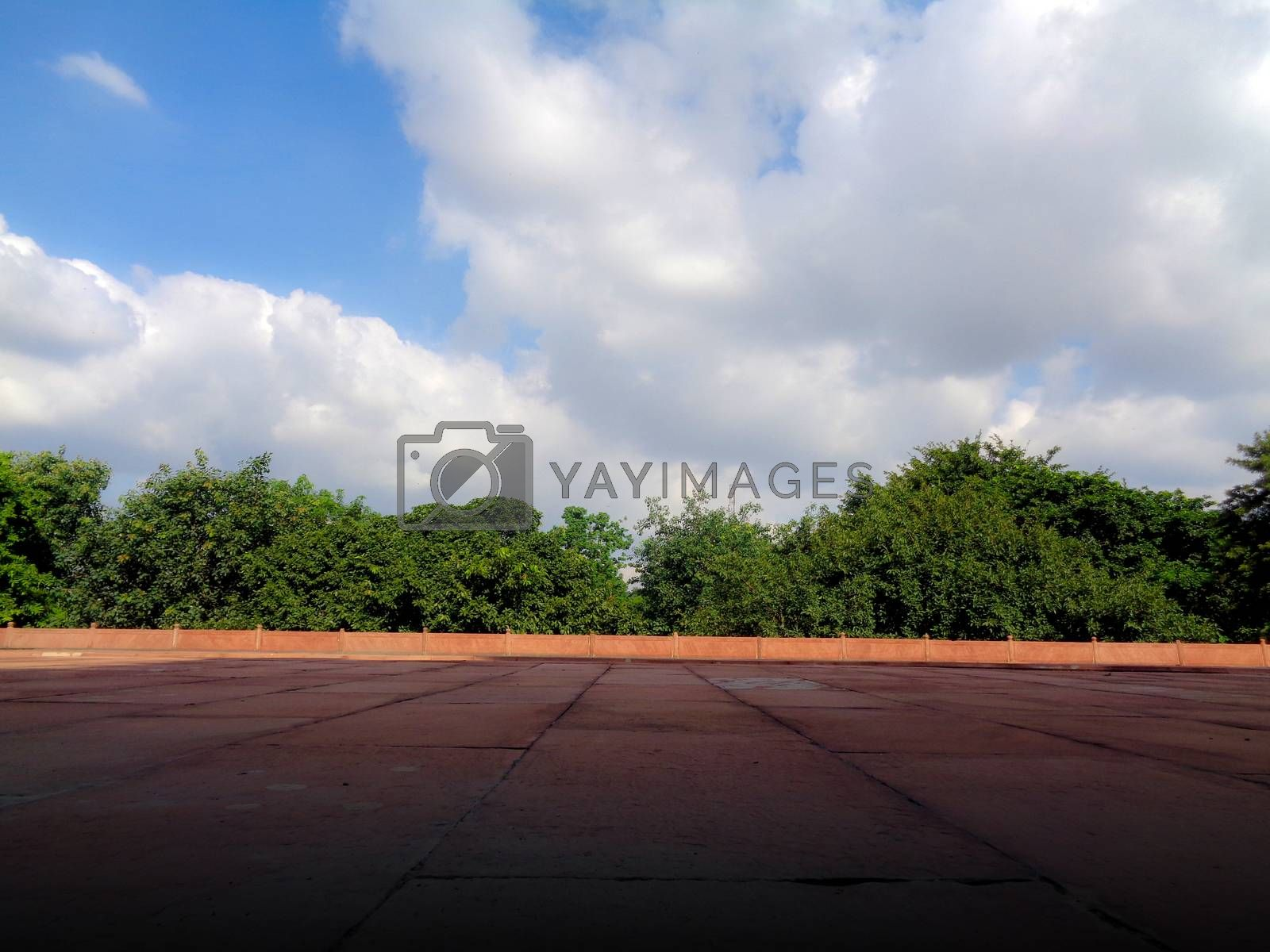 Blue dramatic cloudy sky trees and red marble floor