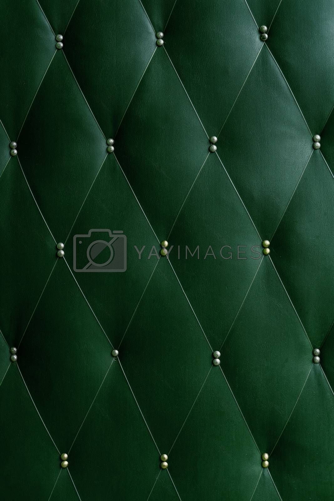 Soviet soft green dermantine front door with a banner of fishing line and nails - full frame background and texture.