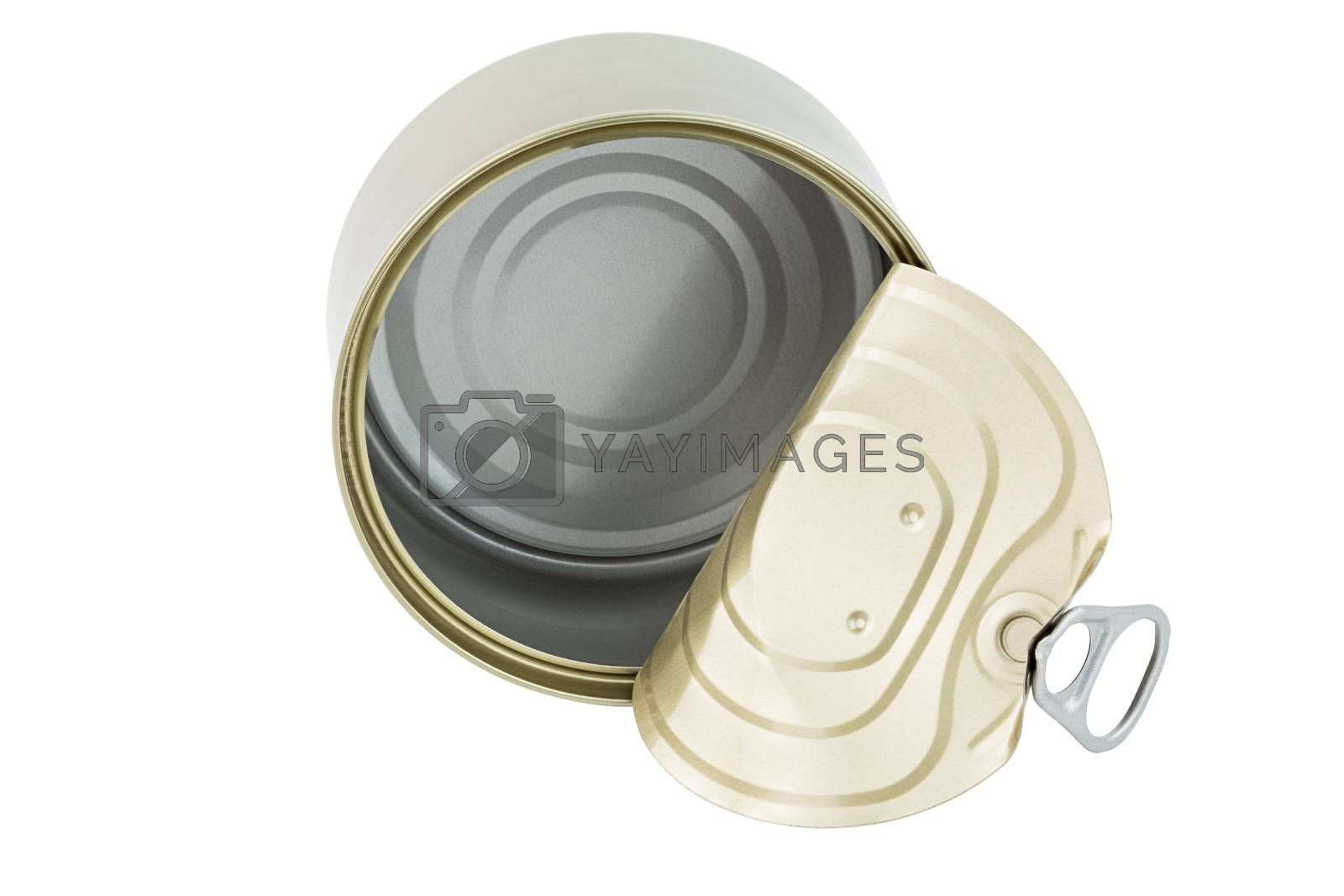 opened clean tin can with pull tab ring, bended lid and empty - isolated on white background, top-down view.