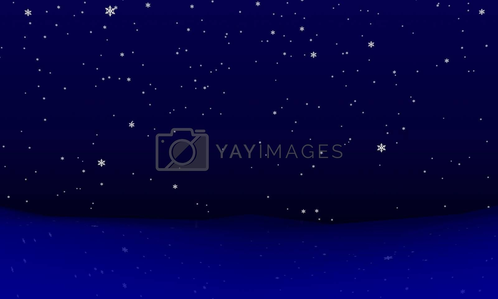 Abstract winter snowfall. Rendered 3d-background in various colors.