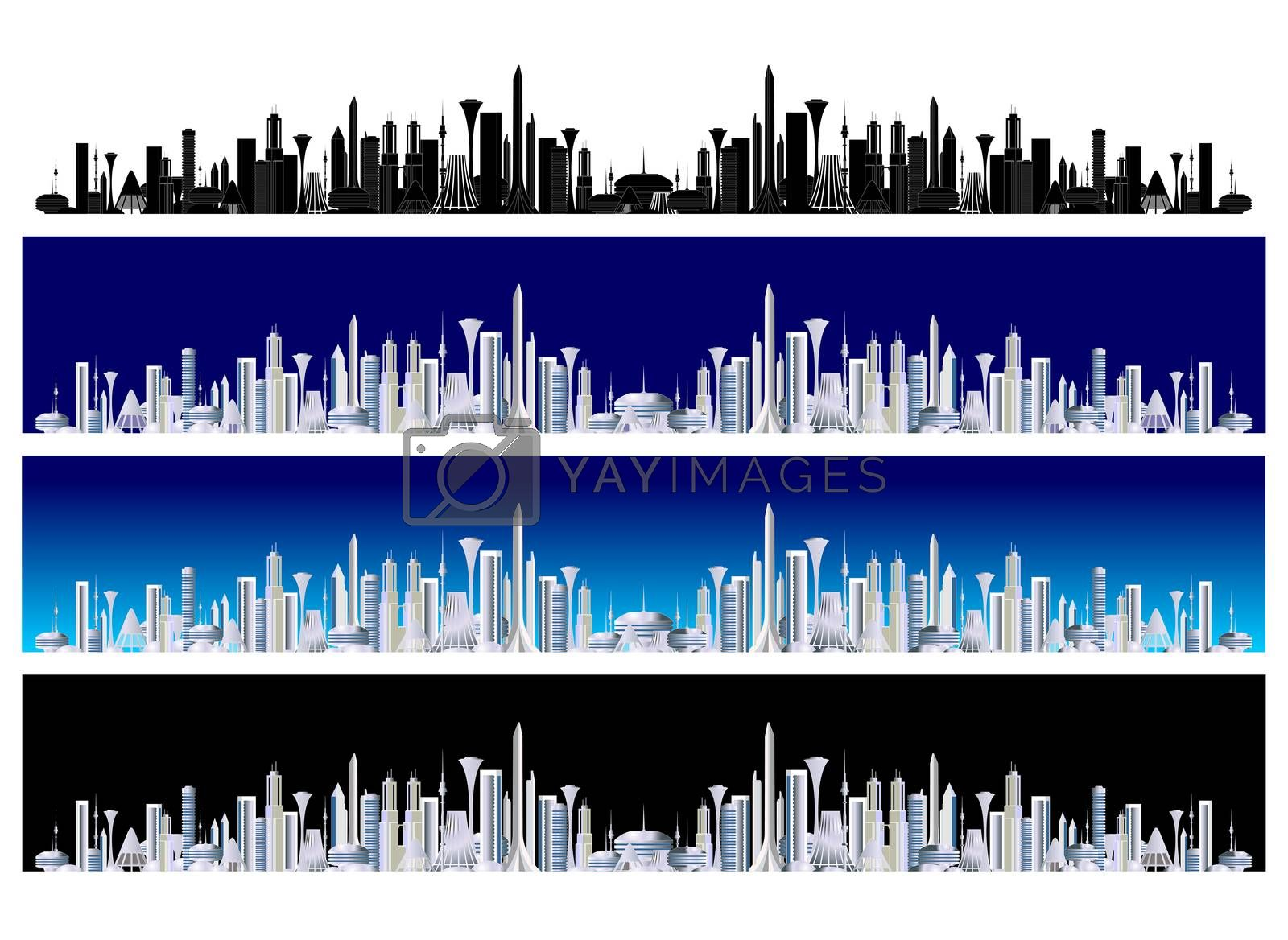 Iillustration of abstract future cityscape panorama in various colors.