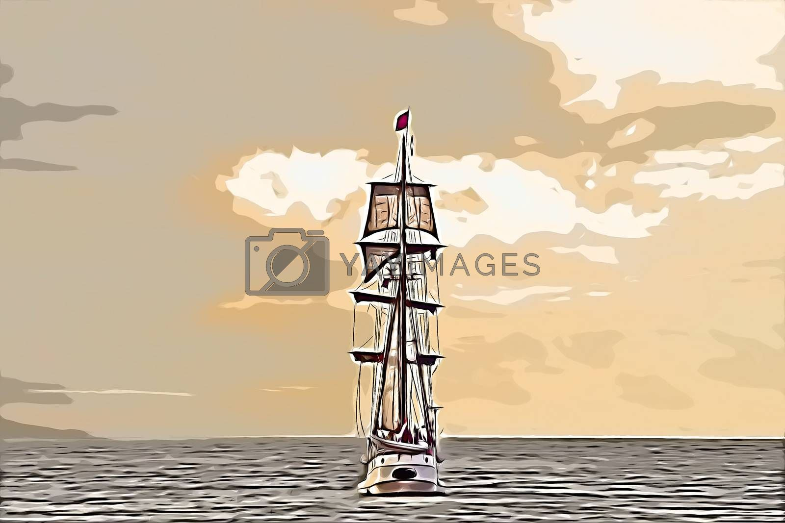 Antique tall ship, vessel leaving the harbor of The Hague, Scheveningen under a early warm sunset sky