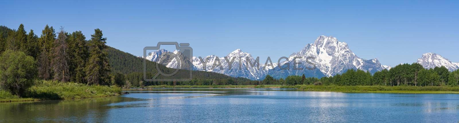 Panoramic of the Snake River in the Teton Mountains of Wyoming. by Gary Gray