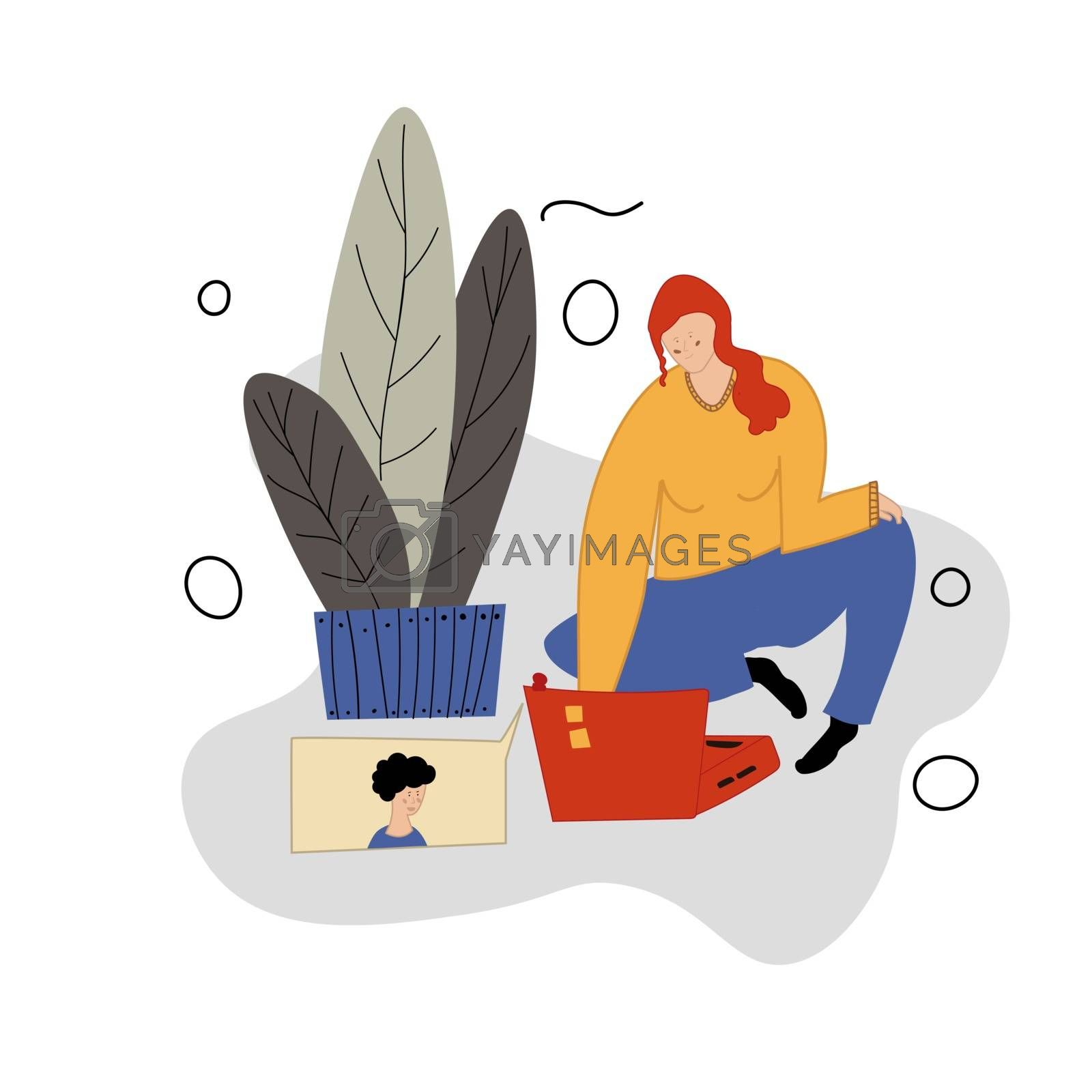 A girl calls her boyfriend through a video on her laptop. Relations in the distance. A video call to your loved one. Online conversation. Vector illustration in cartoon flat style