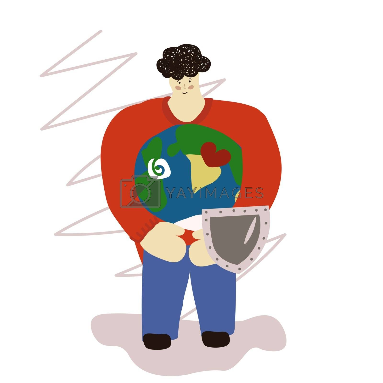 man holds earth in his hands. environment day. Save the planet. Environmental Protection. Vector illustration in hand drawn style