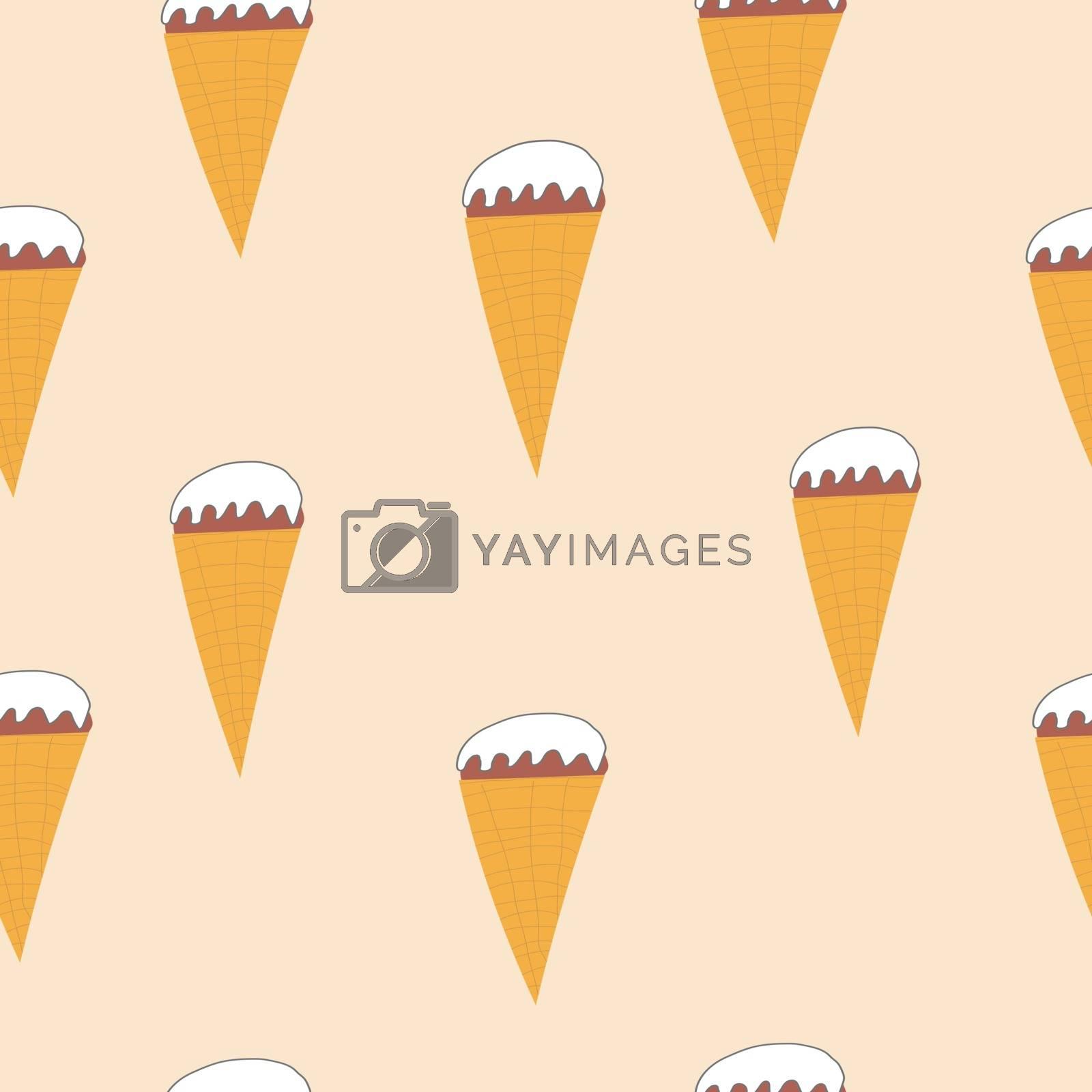 Seamless ice cream cone pattern, hand-drawn summer background, ice-cream vector.