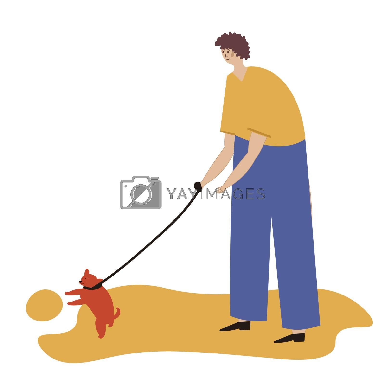 Man walking with a dog. Vector illustration for service of pet sitter, walker, vet clinic, pet care, hospital, dog shelter. Design template for poster, booklet, banner, flyer, web, advert. Man plays with a dog.