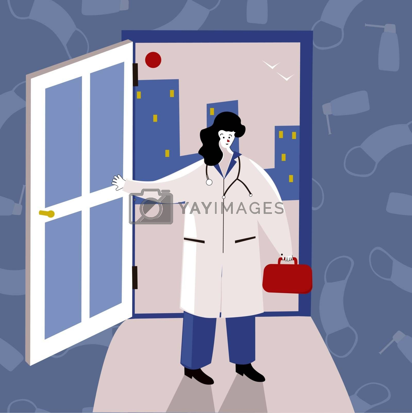 Smiling female doctor at the door. Funny character design. Stylized Cartoon Vector Illustration. Doctors at home Visiting medical services Promo Poster. Banner advertising. Seek professional medical attention