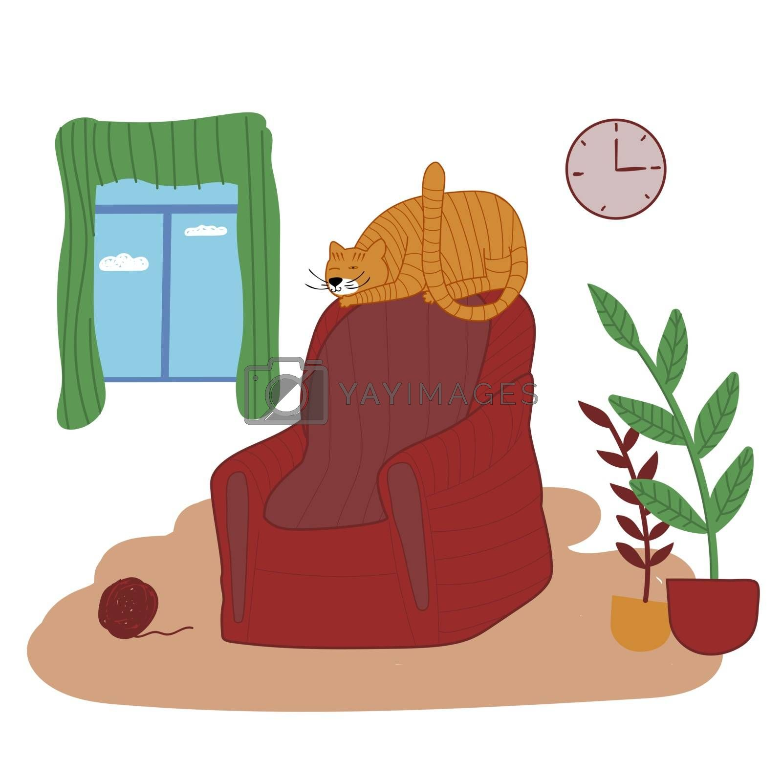 Comfortable living room interior with a ginger cat sitting on an armchair and ottoman, indoor plants growing in pots, and interior items. Vector illustration in hand-drawn style