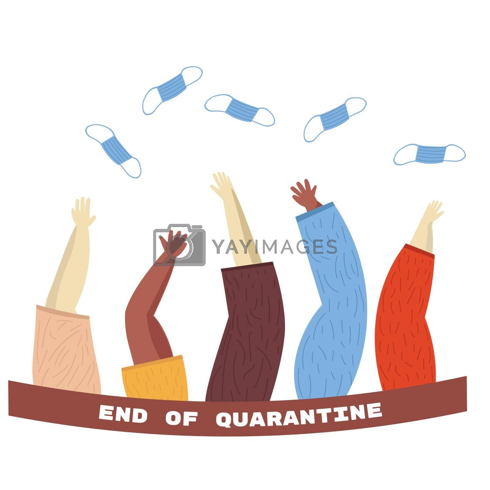 Coronavirus victory concept. Hands throw up medical masks. Hand drawn illustration End of quarantine. Raised hands up
