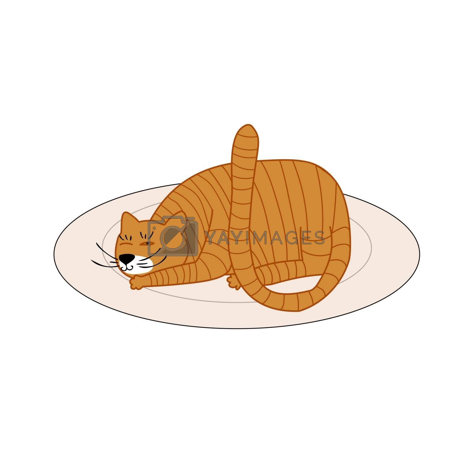 the cat lies on the carpet, squinting with one eye. Vector illustration in hand drawn style for children