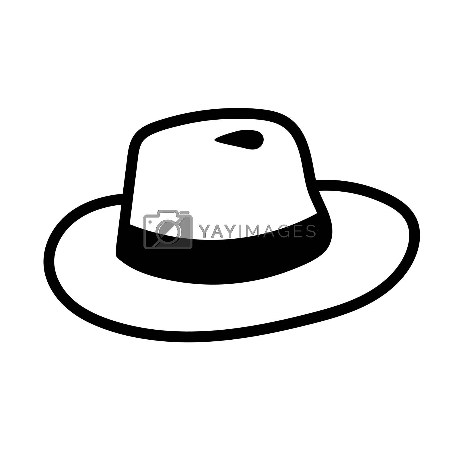 Vector hand drawn fedora hat outline doodle icon. Trilby sketch illustration for print, web, mobile and infographics isolated on white background