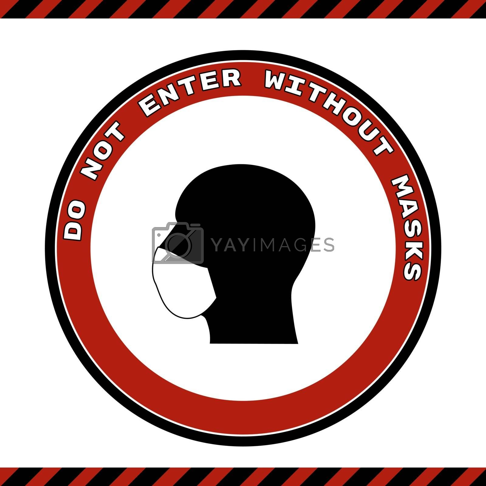 Please Wear Medical Mask Signage or Floor Sticker for help reduce the risk of catching coronavirus Covid-19. Vector sign.