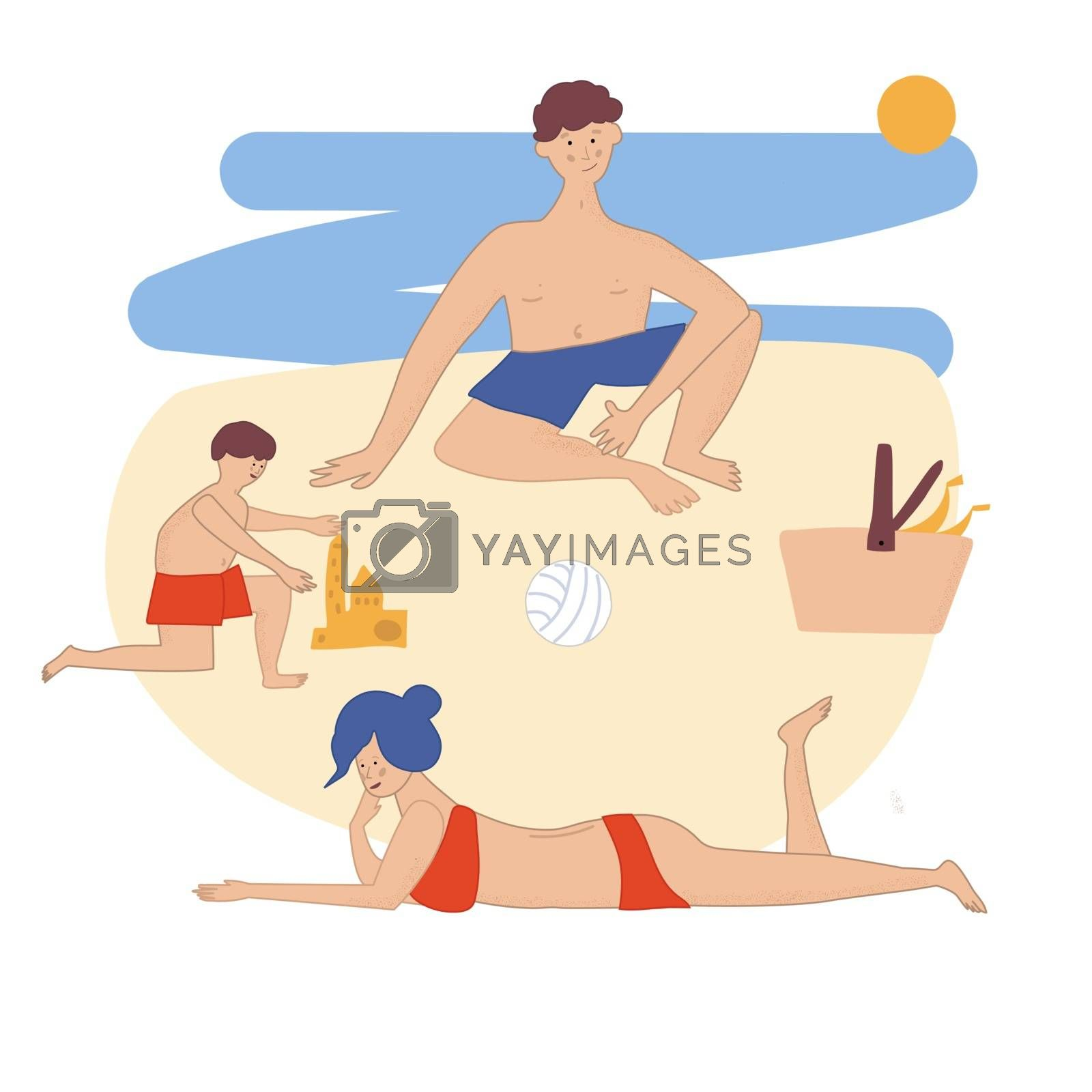 Family resting on a picnic on the beach. Mom and dad play with their children by the sea. Parents with children are happy and eat food on the seashore. A child builds a sand castle. Vector illustration in hand drawn style
