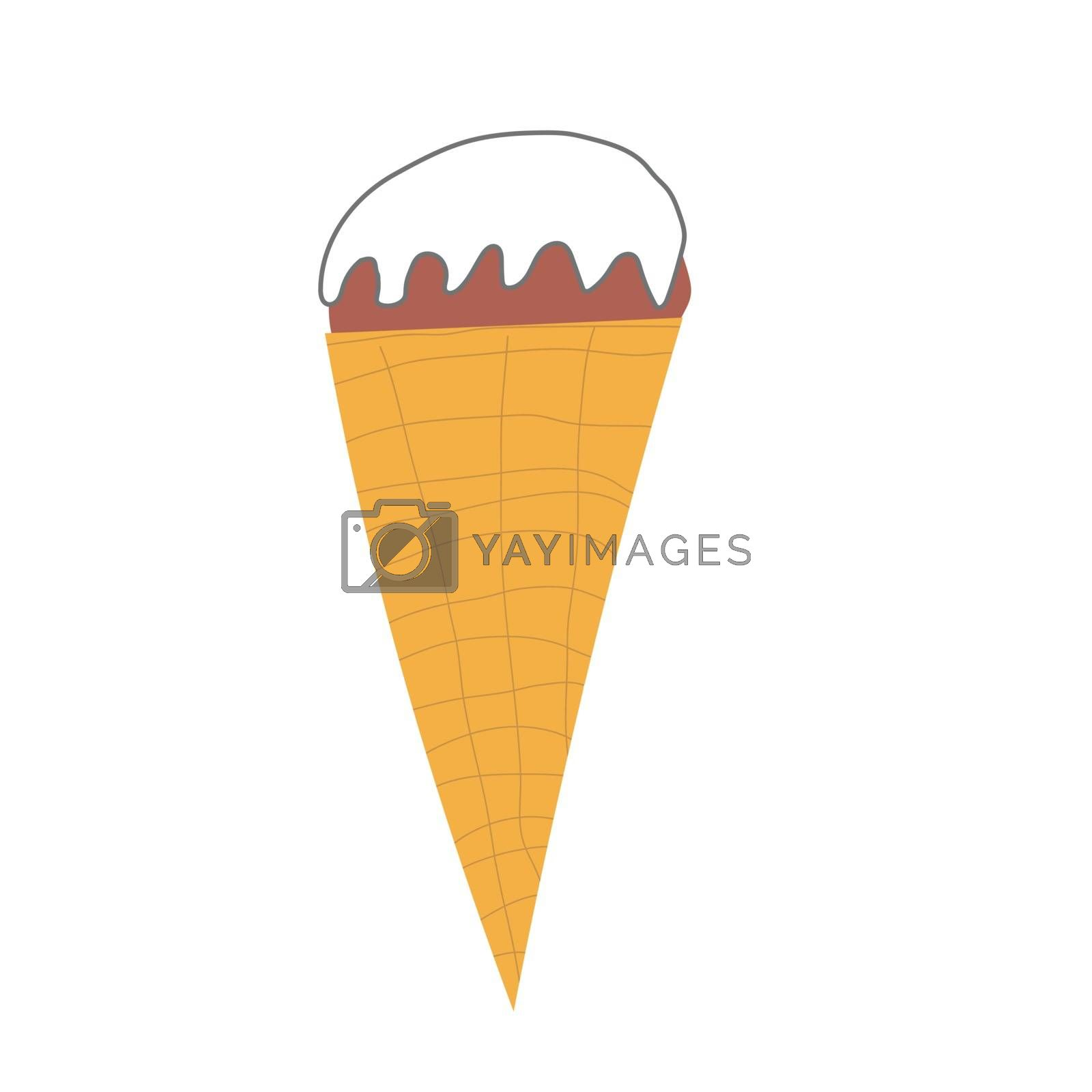 ice cream cone with cream in a hand-drawn style. Vector isolated illustration