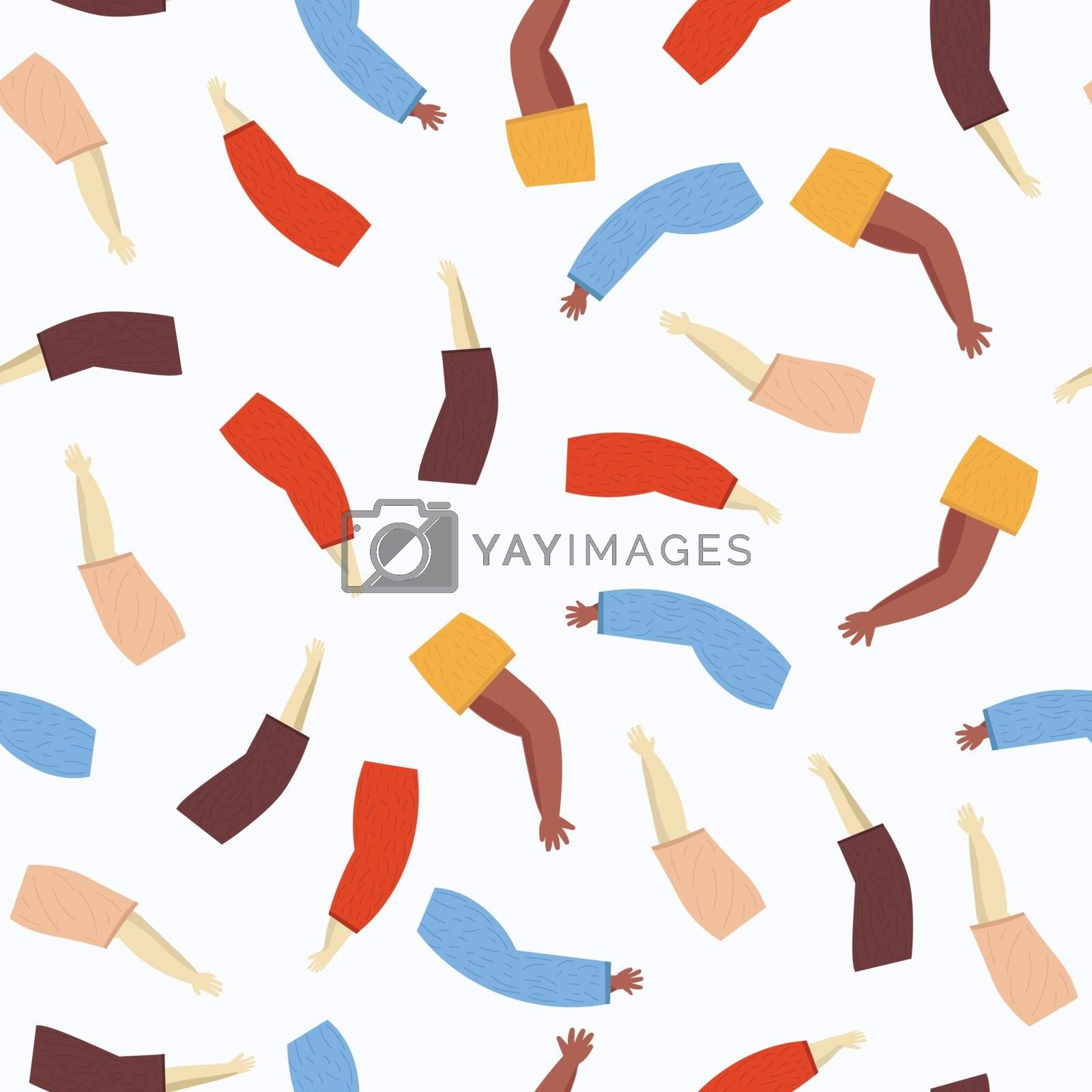 Colorful vector pattern with illustration of a people's hands with different skin color together. Race equality, diversity, tolerance illustration. Can be used for backgrounds or prints