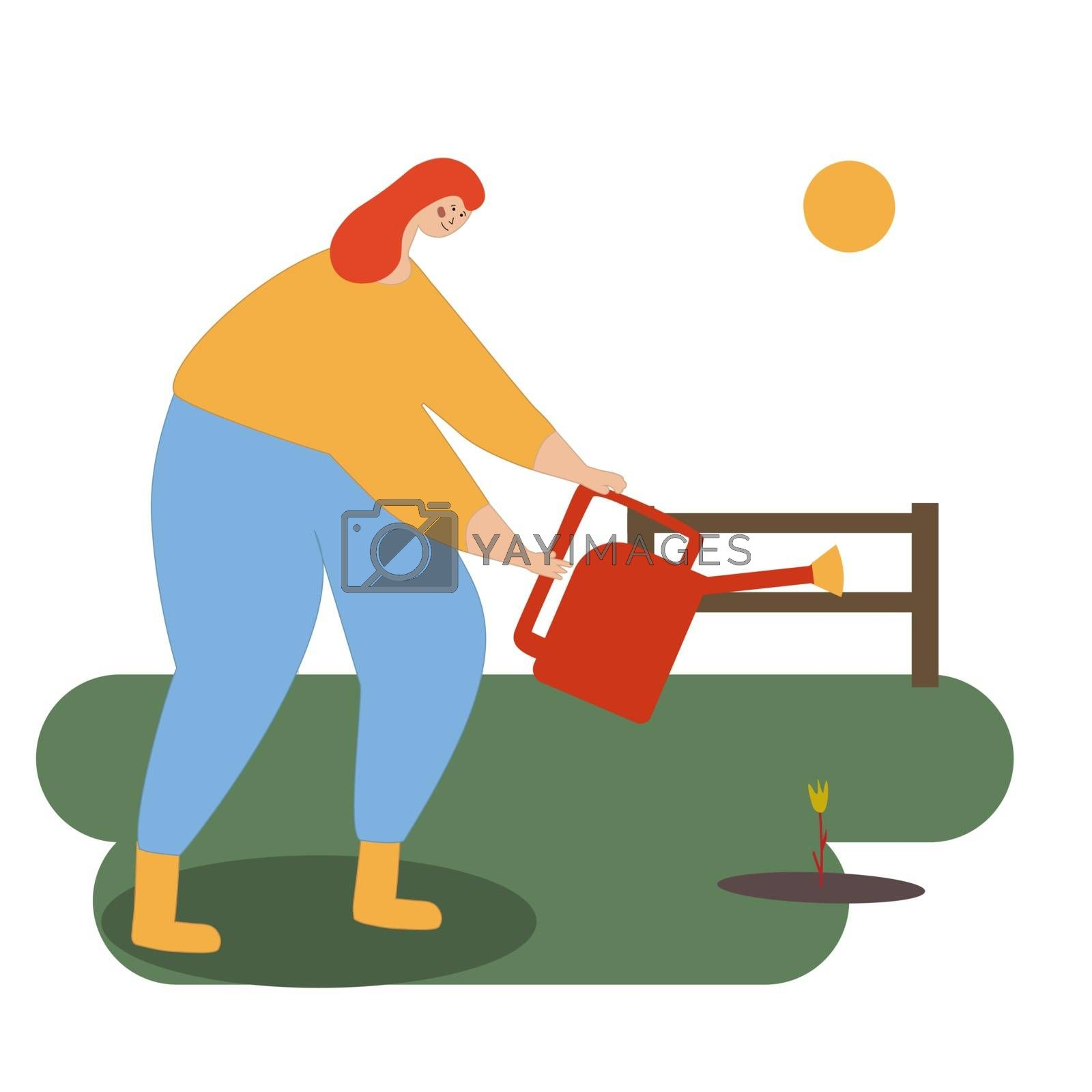 A young smiling girl is watering the plants. A woman is watering a planted plant. Spring chores in the garden. Care of the garden. illustration in style flat cartoon