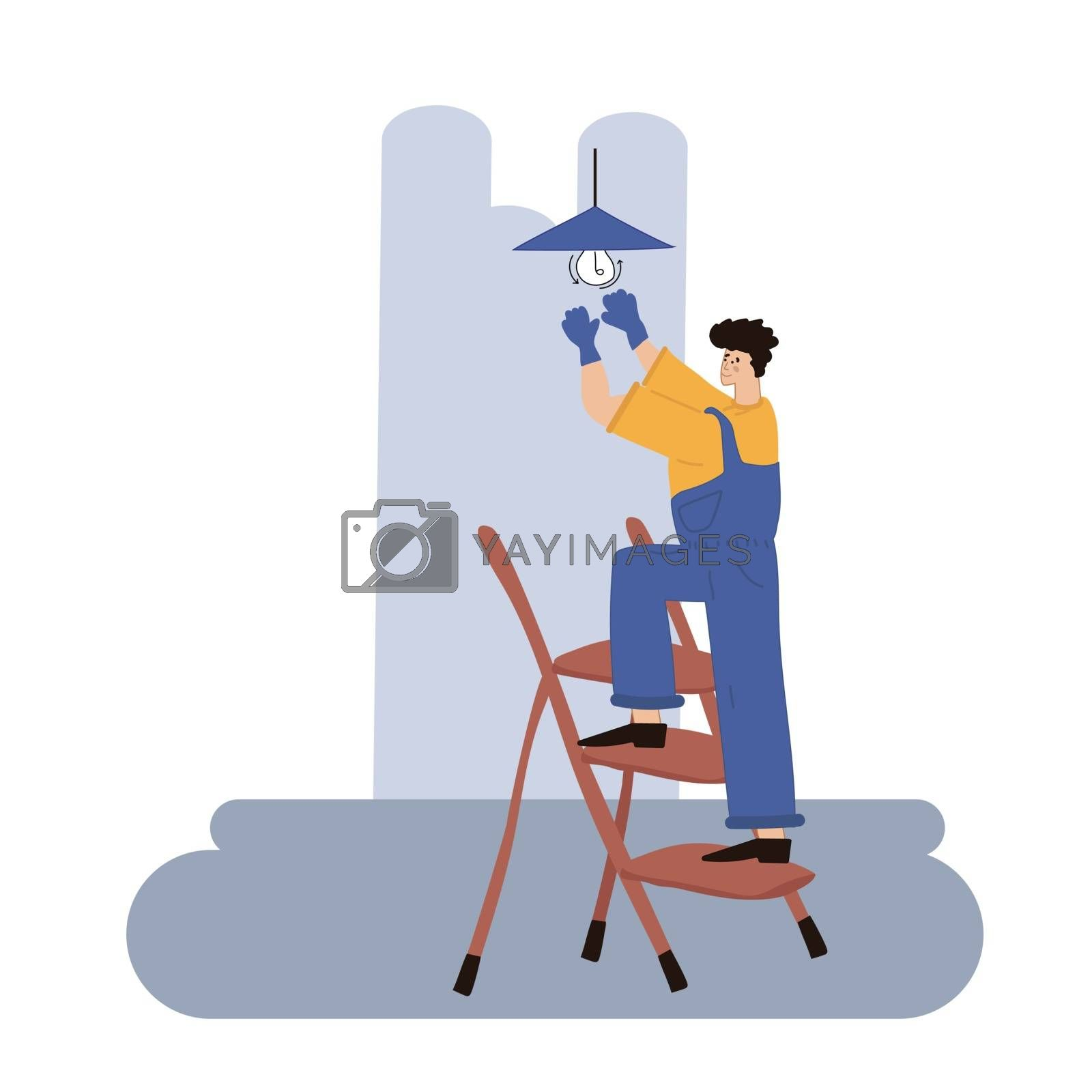Smiling worker twisting light bulb vector flat design illustration isolated on white background. Electrician on a stepladder. Vector illustration in hand-drawn style