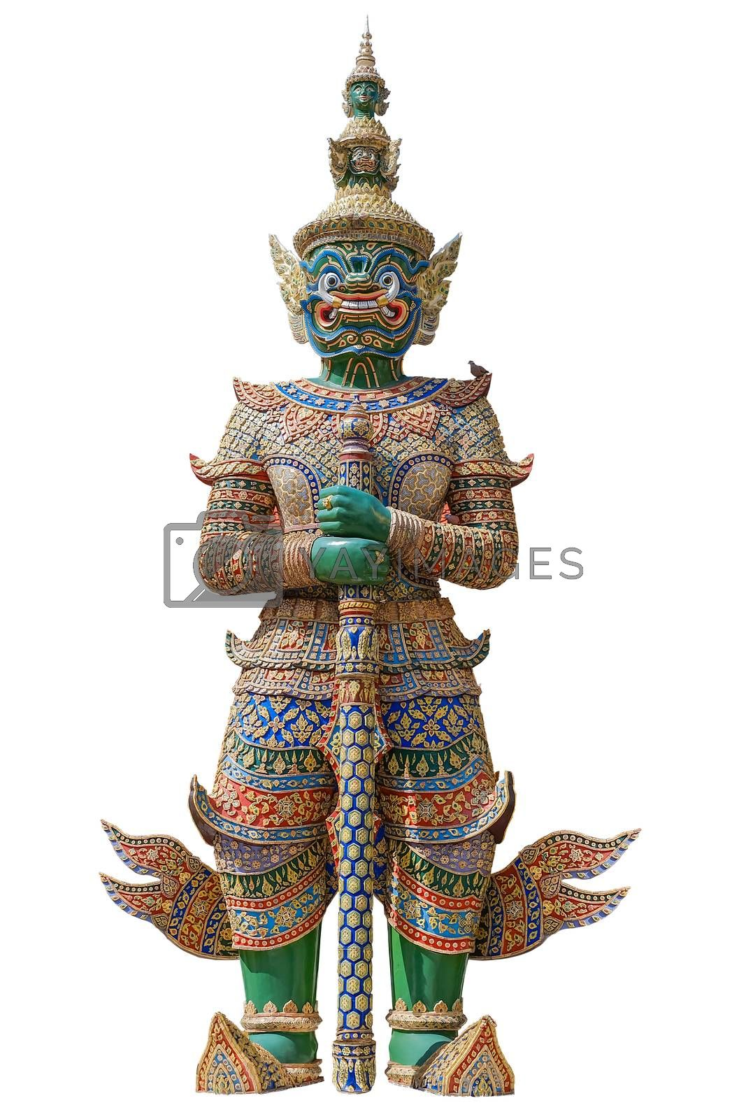 Green Giant guardian statue in Wat Phra Kaew Thailand on white backgroud with clipping path