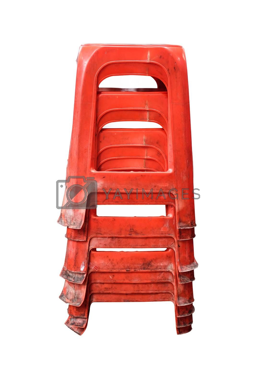 Old Red Plastic Chairs in white backgroud with clipping path