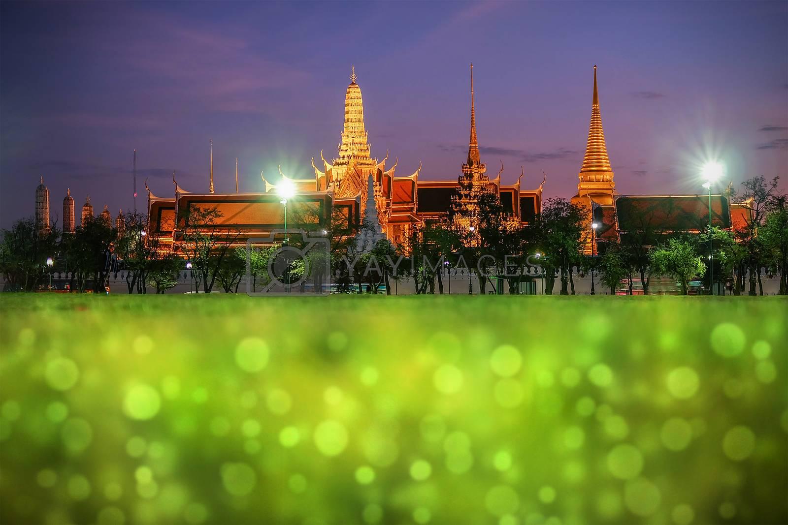 Wat Phra Kaew (The Emerald Buddha) night view in Thailand