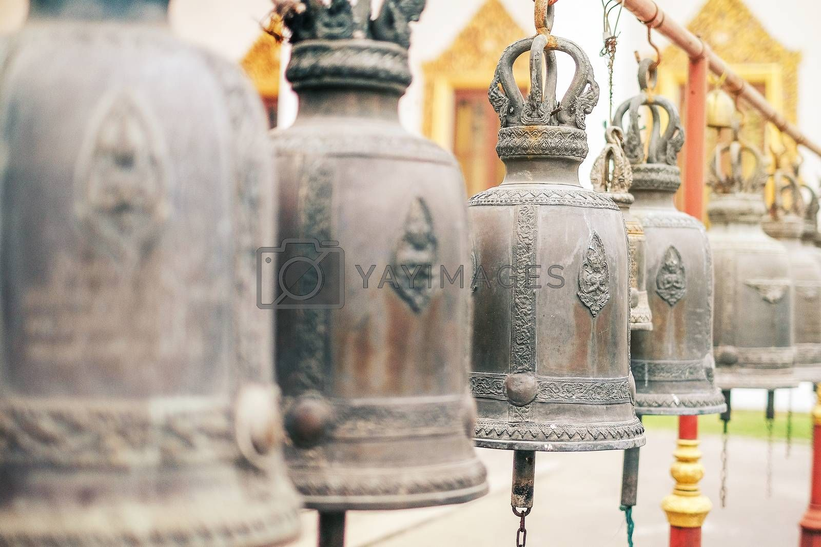 Big brass bell in Thailand temple