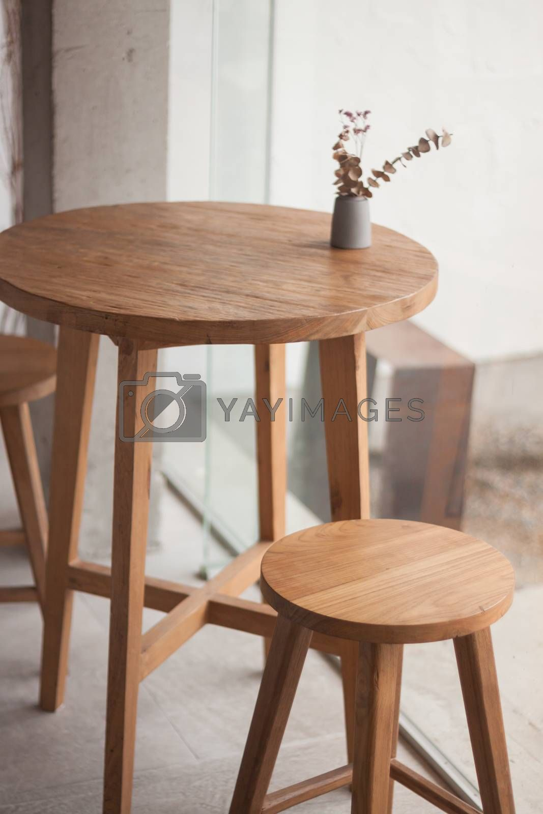 Table decorated in coffee shop, stock photo