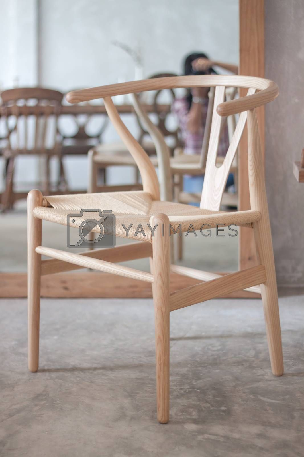 Brown classic chair decorated in coffee shop with clipping path