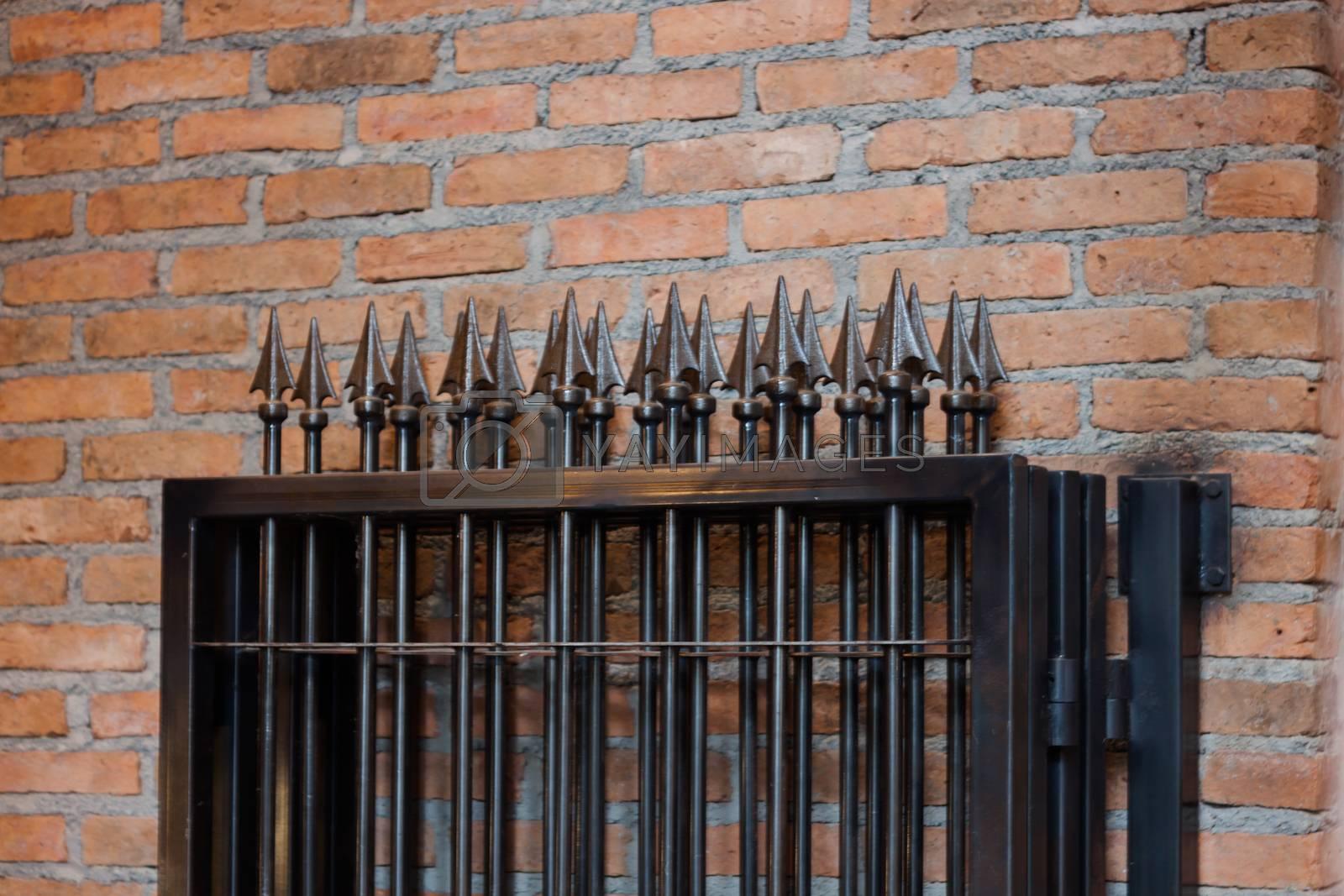 Aluminum Fence in private zone, stock photo