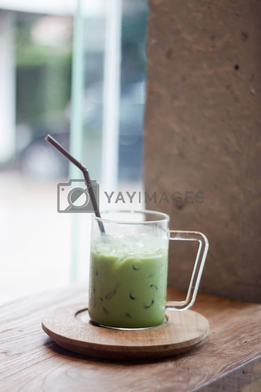 Iced matcha green tea latte by punsayaporn