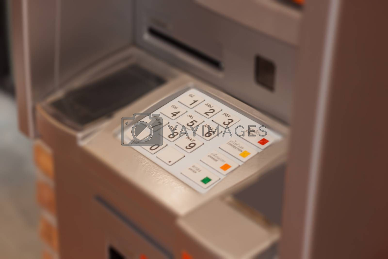 Close up at Automated Teller Machine by punsayaporn