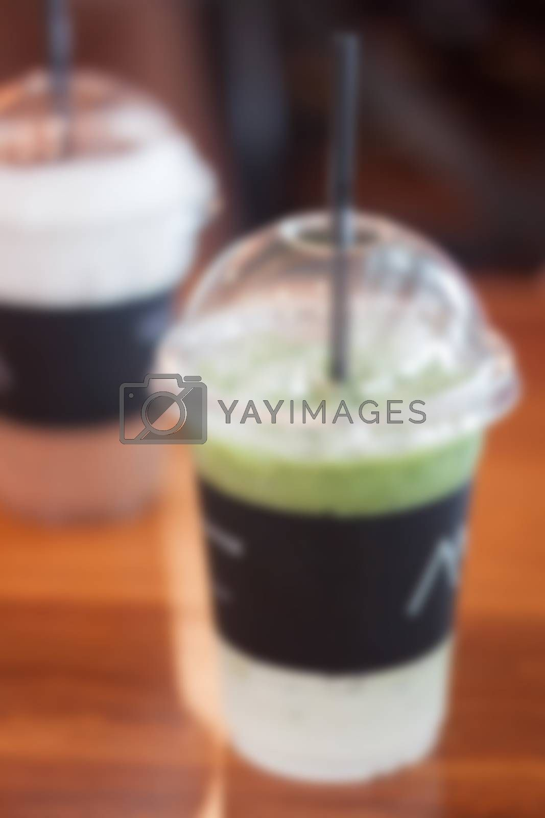 Iced matcha green tea latte, stock photo