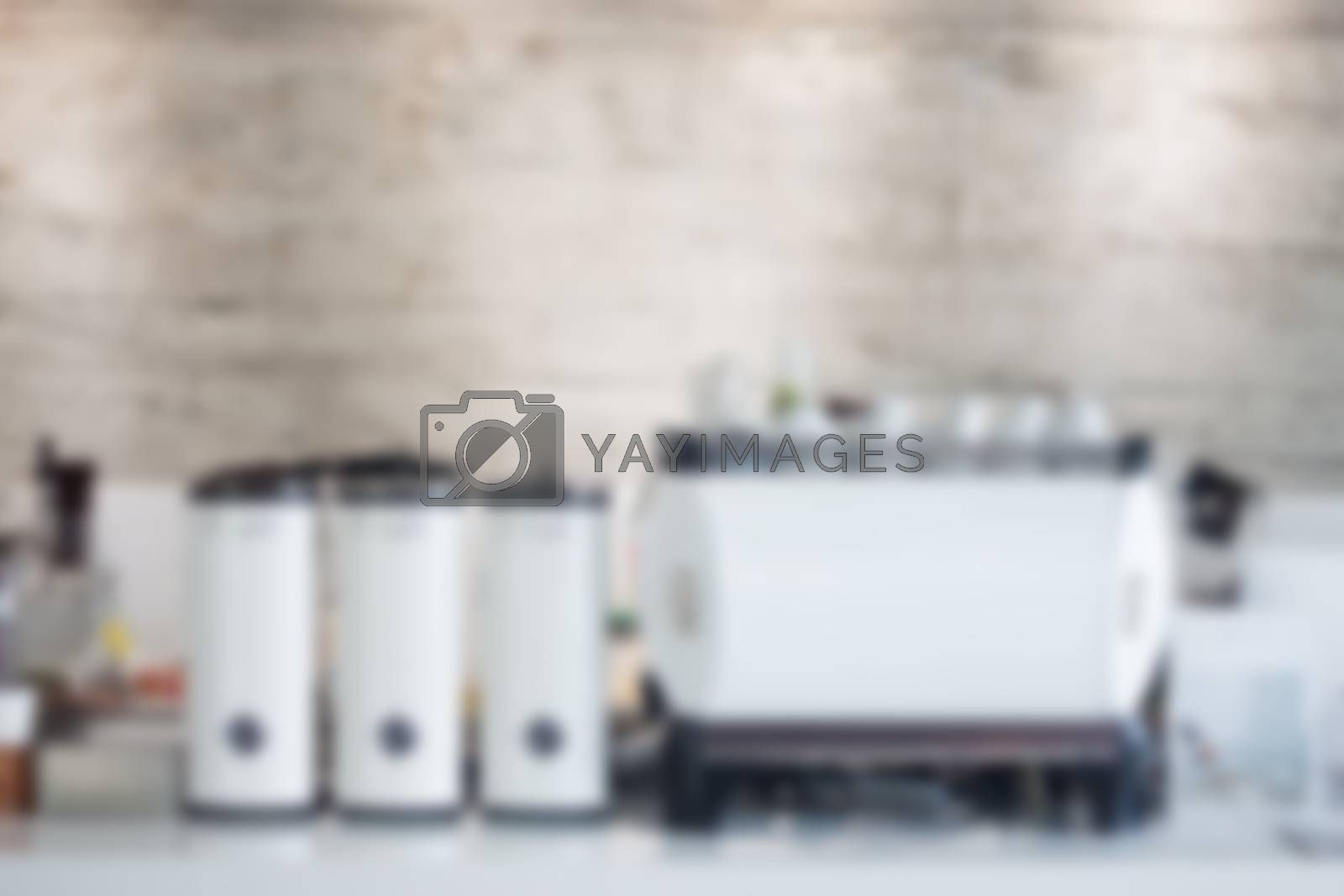 Coffee shop blurred background with bokeh by punsayaporn