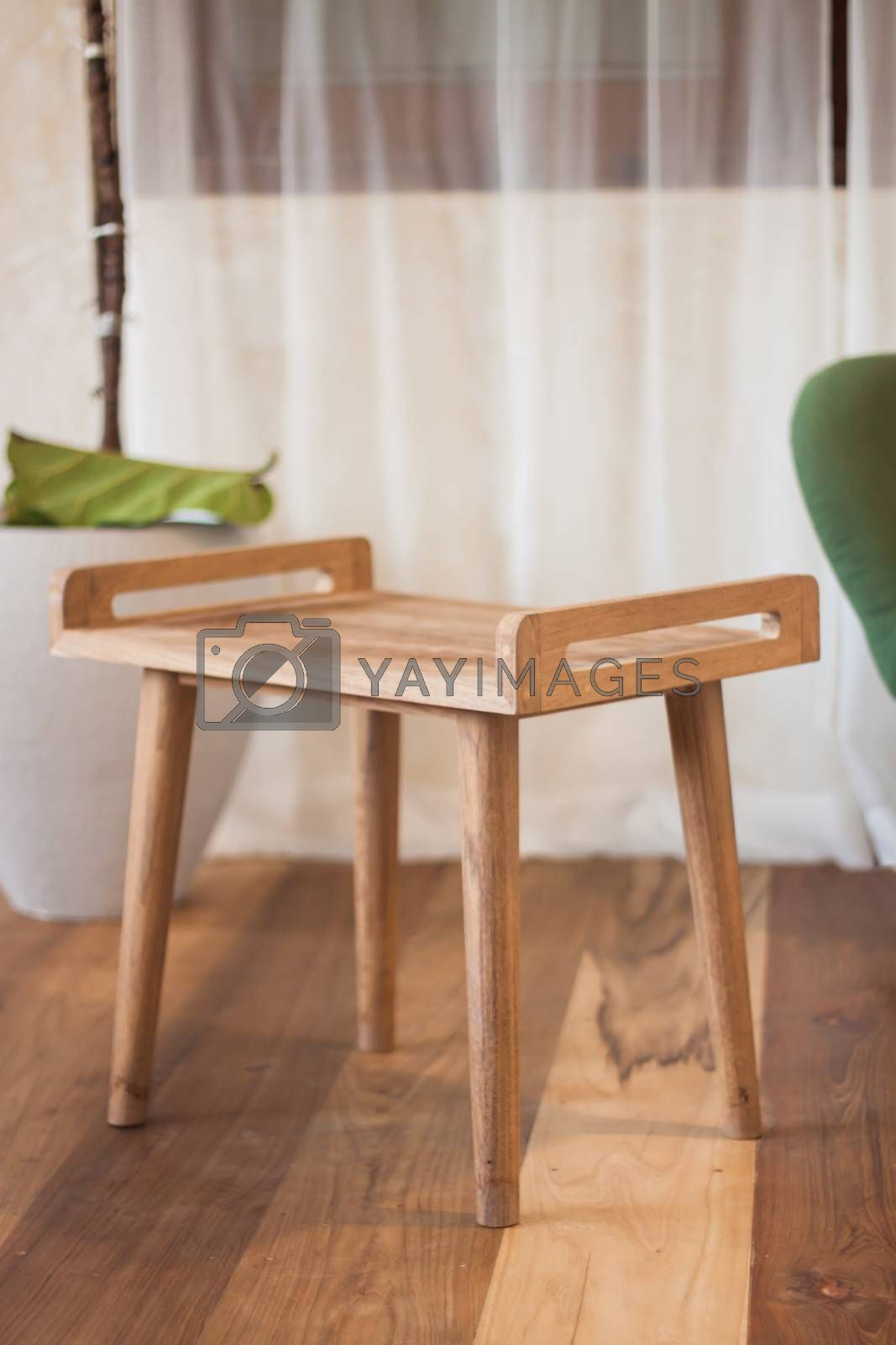 Wooden table decorated in coffee shop with clipping path