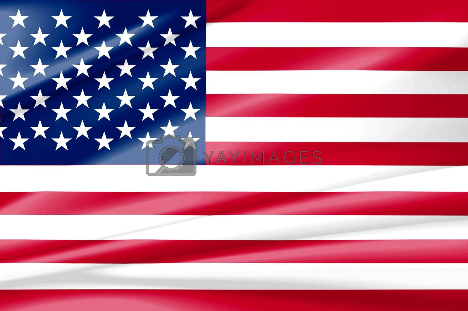 United States of america red white and blue country flag. Beautifully waving star and striped flag USA as a patriotic background.