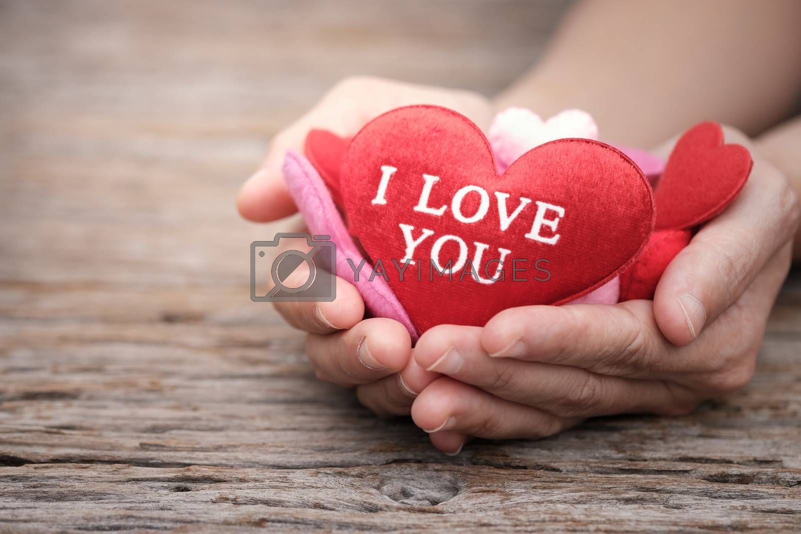 Red pillow heart shape in hand' woman on wooden background with space to write. Valentine concept, Vintage tone, AF point selection.