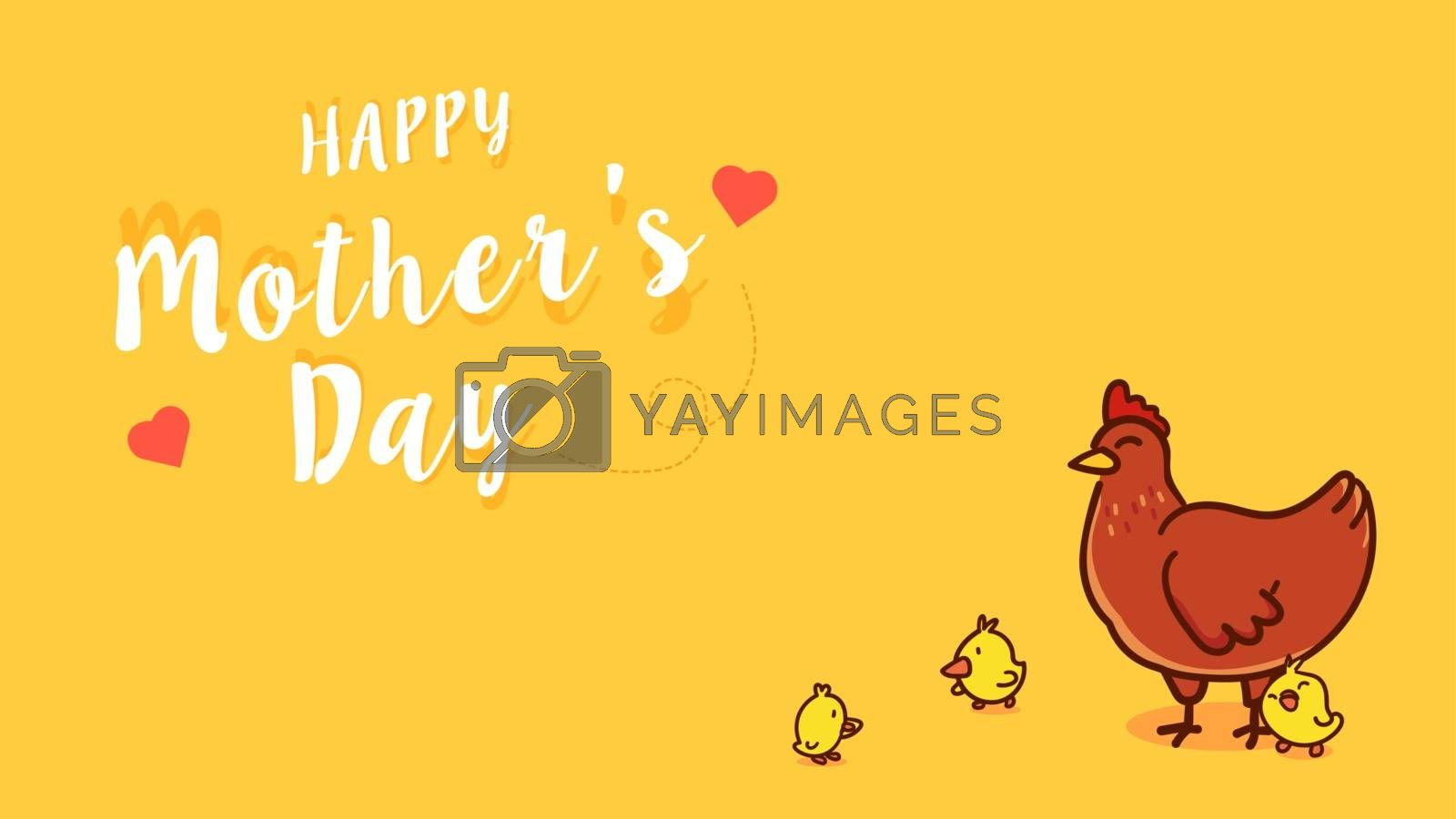 Chicken mama and baby chicks. Happy mother's day cartoon vector illustration