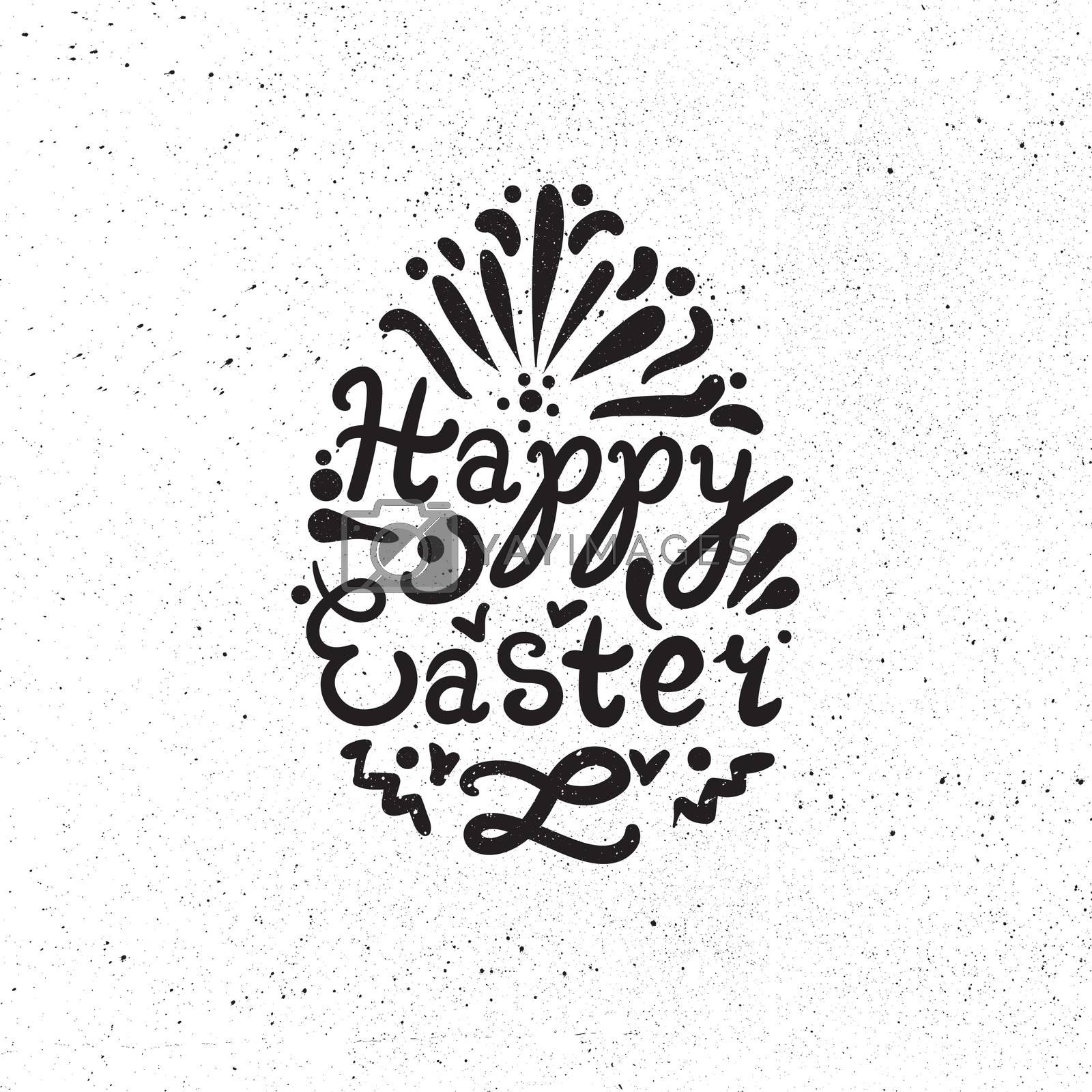 Vintage Happy Easter lettering in egg. Vector