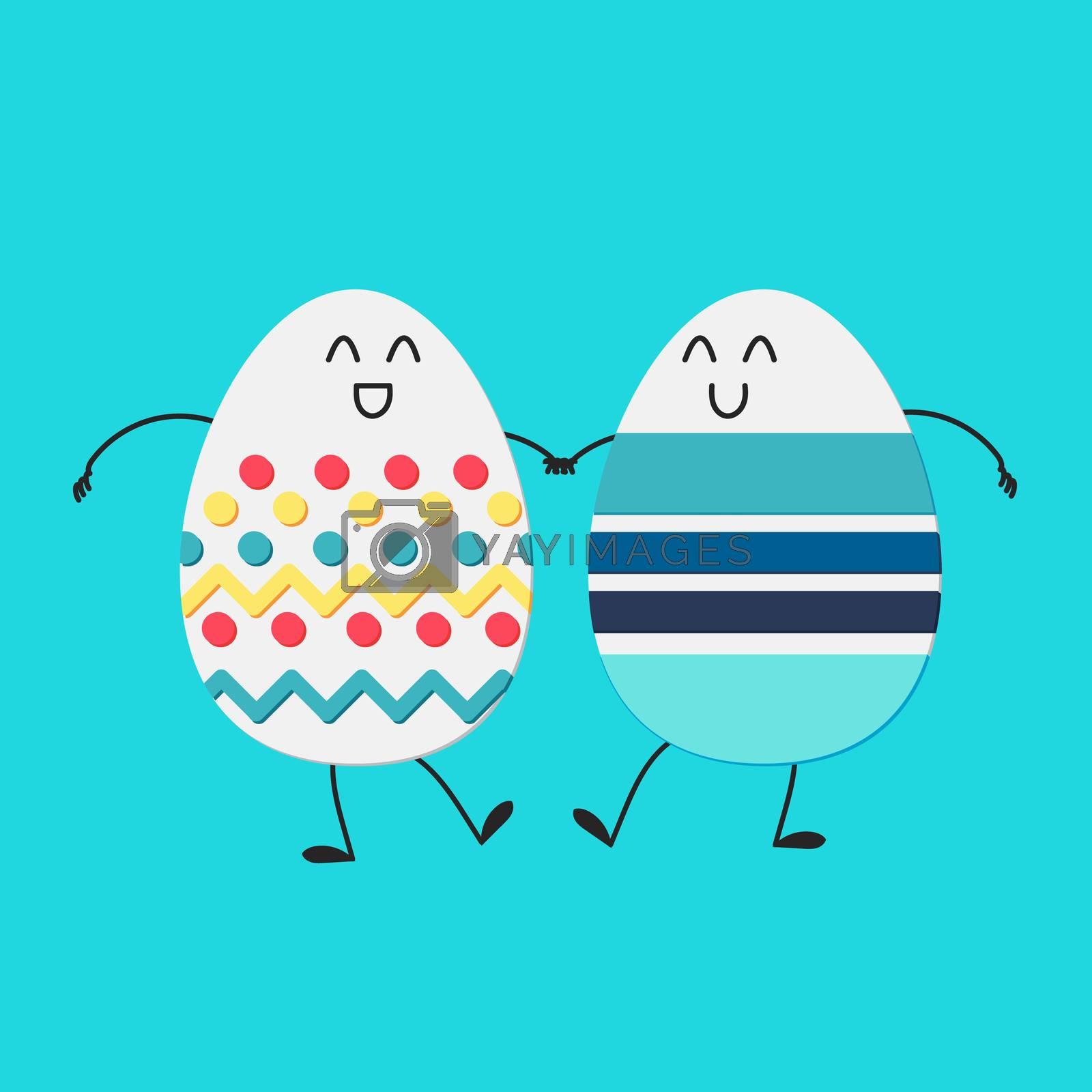 Happy easter with happy dancing egg. Vector