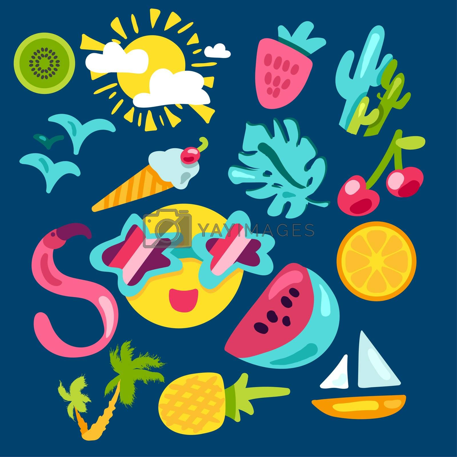 Vector Tropical Summer Stickers by barsrsind