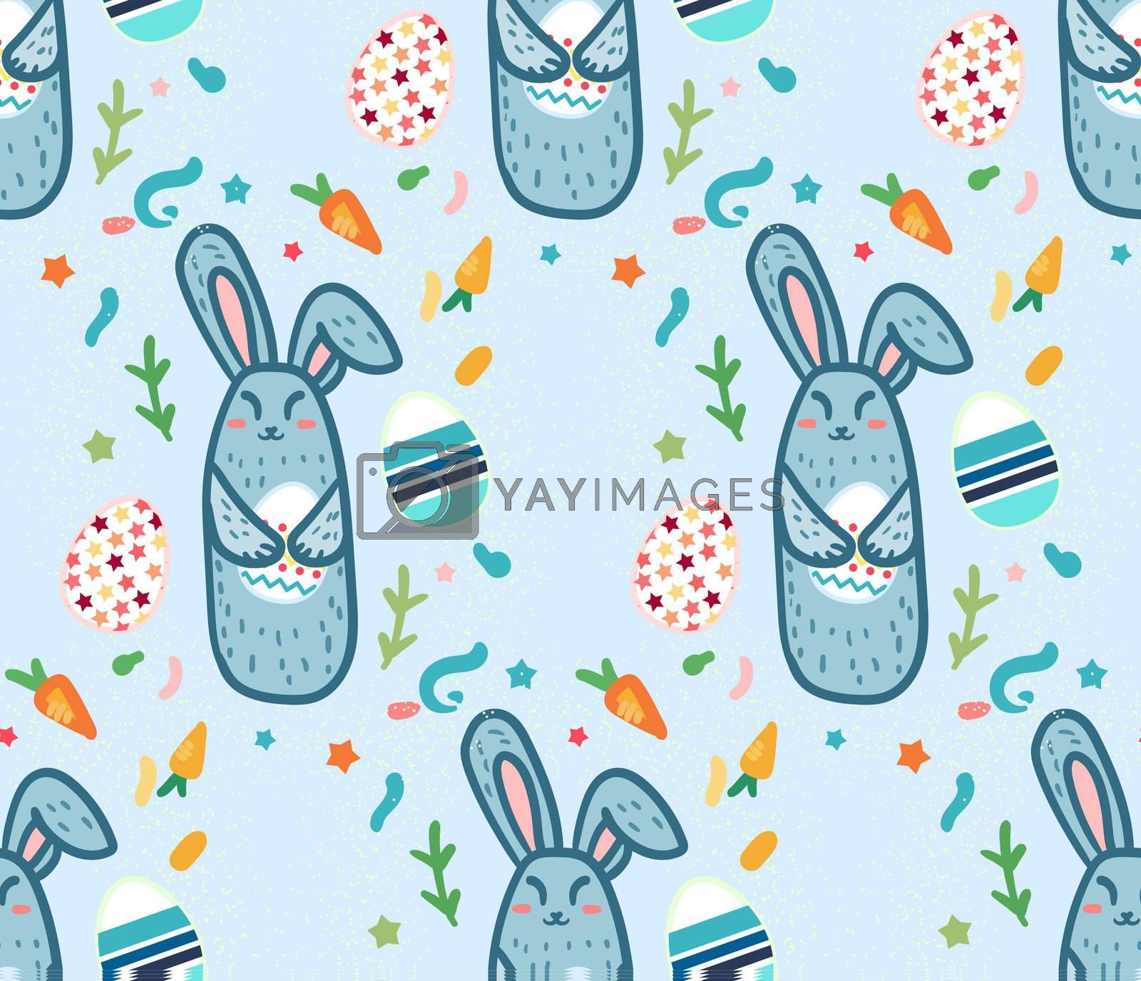 Happy Easter Seamless Pattern with cute rabbit and eggs.  Template for print, fabric, wrapping, wallpaper, greeting background. Vector