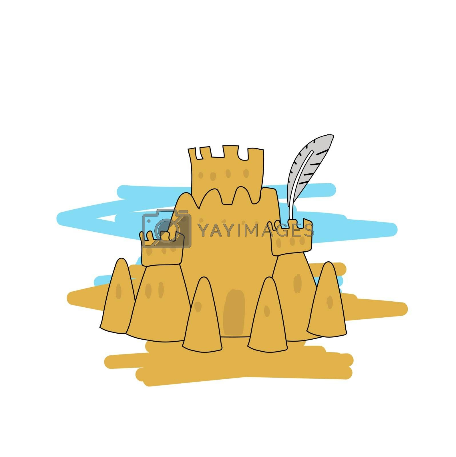 Tower of raw sand. Sand castle. Vector illustration in hand-drawn style