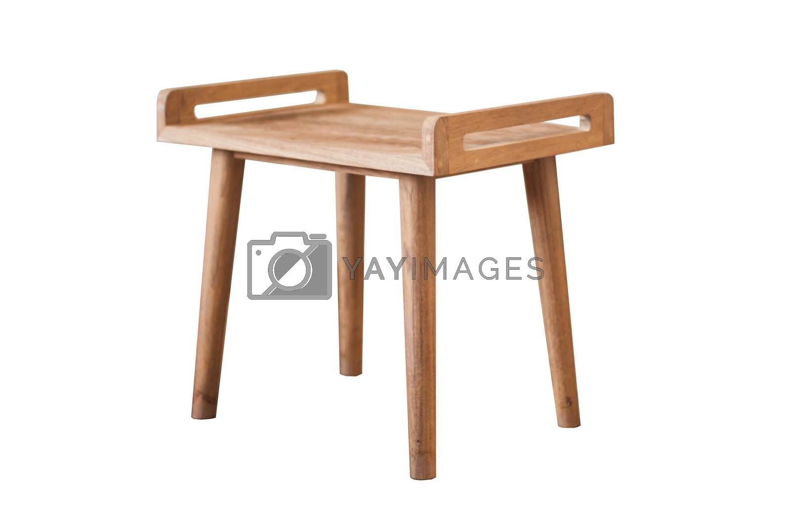 Wooden table isolated on white background with clipping Path