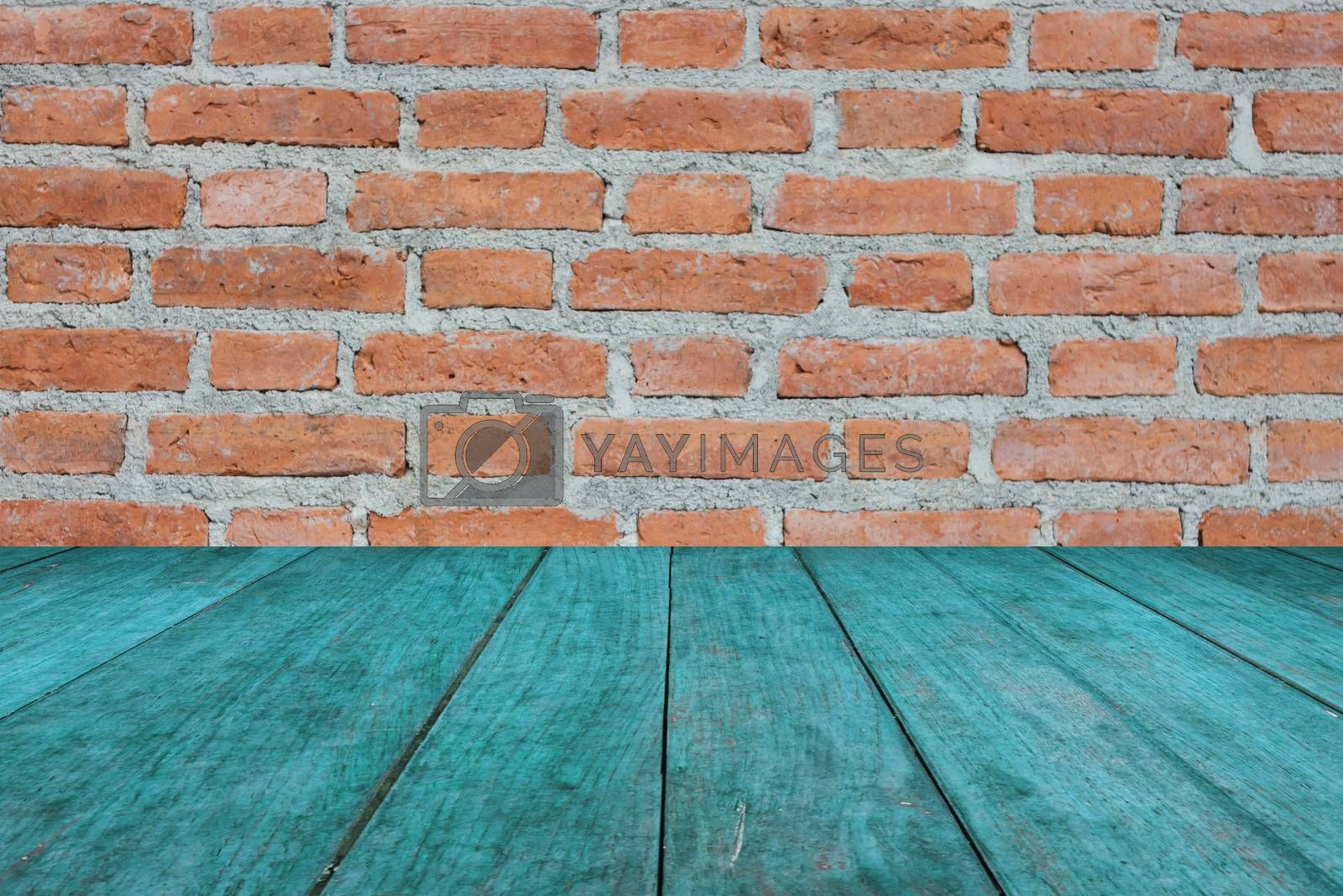 Perspective blue wooden on brick wall, stock photo