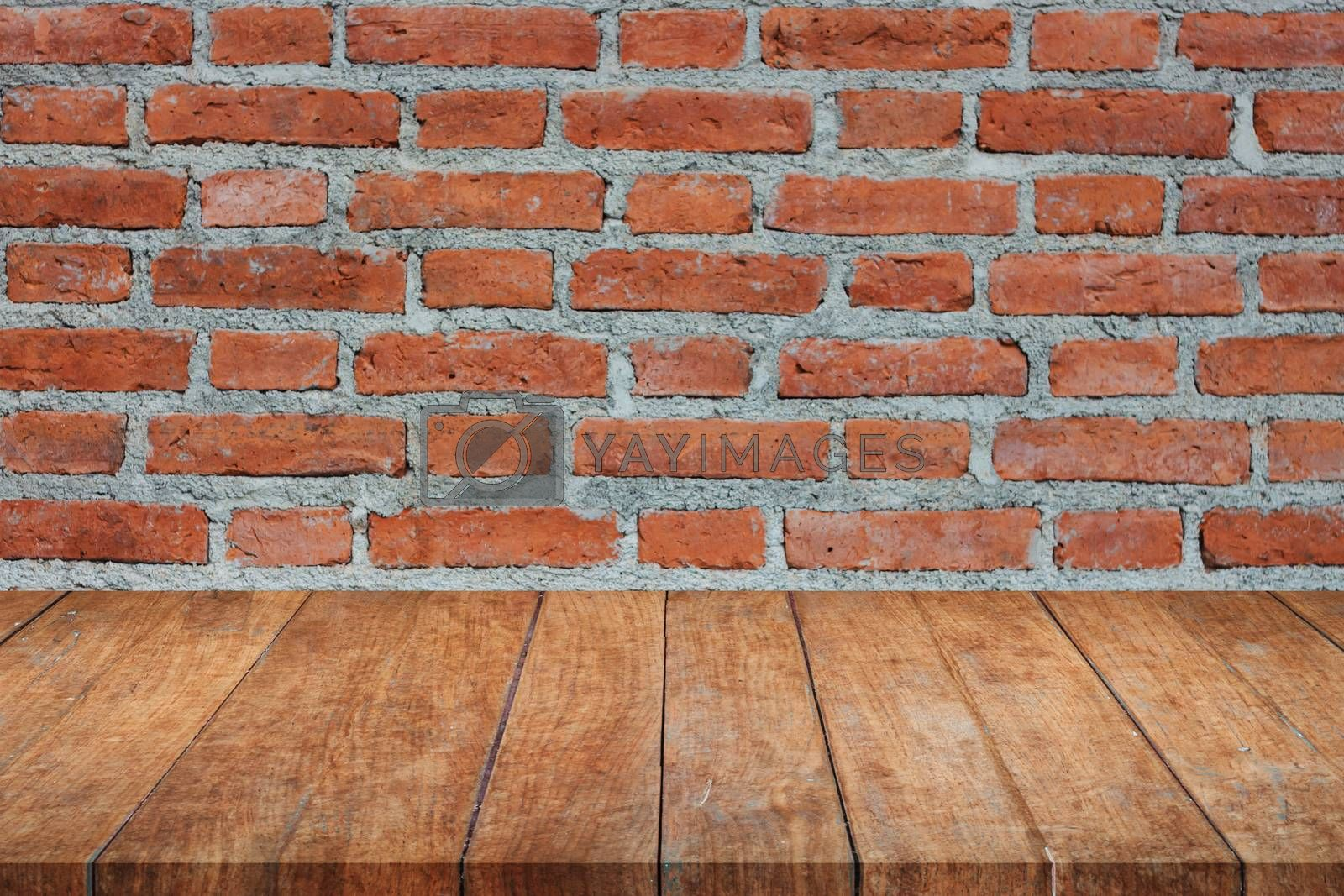 Perspective top wooden on brick wall. product display template
