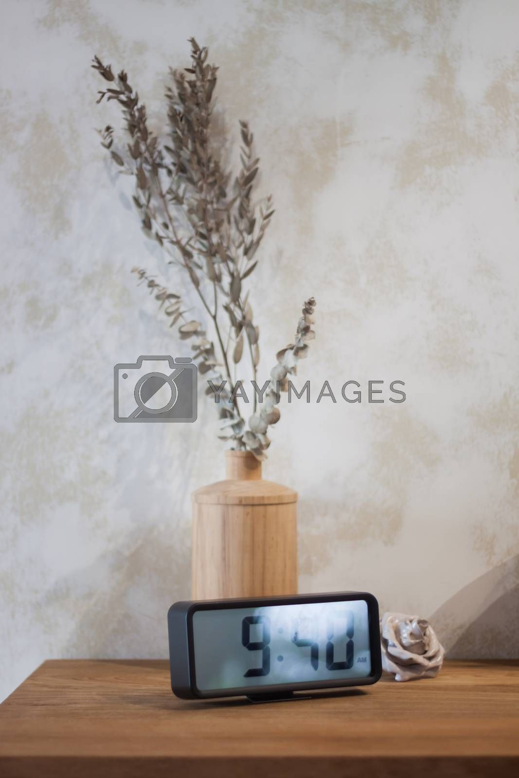 Digital clock decorated in coffee shop, stock photo