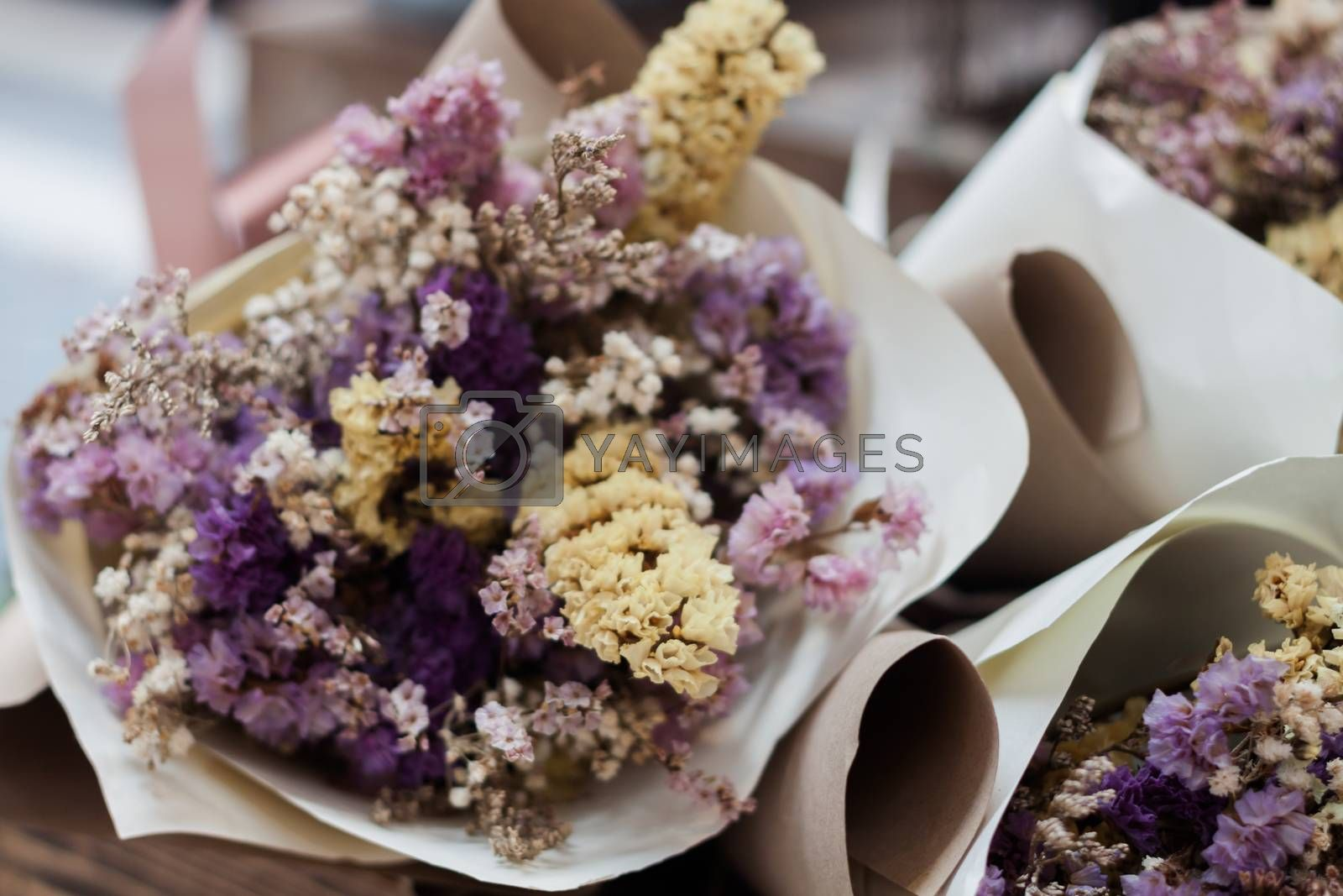 Dried flower bouquet at florist shop, stock photo