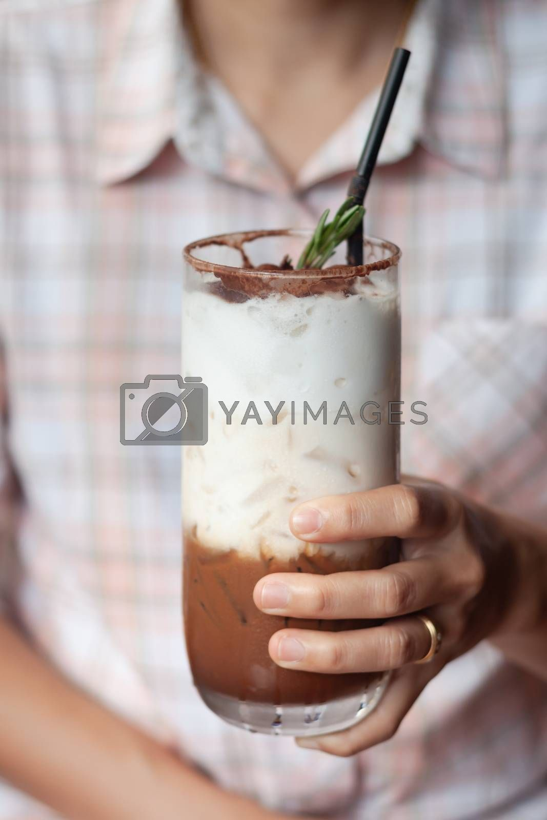 Iced coffee toping with whipped cream, stock photo